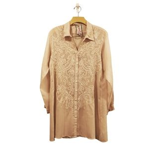 Johnny Was Embroidered Shirt Dress Tunic Sz M